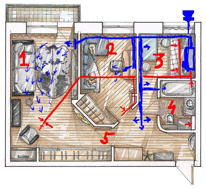 Пример разводки вентиляционной сети по квартире.